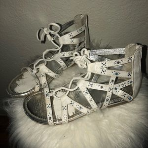 Girls Dressy White Justice Sandals